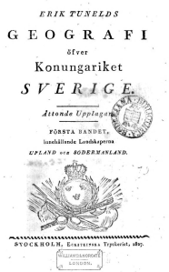 Erik Tunelds Geografi öfver konungariket Sverige. 8e uppl._1827 kapak