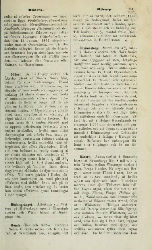 Historiskt-geografiskt och statistiskt lexikon öfver Sverige -151
